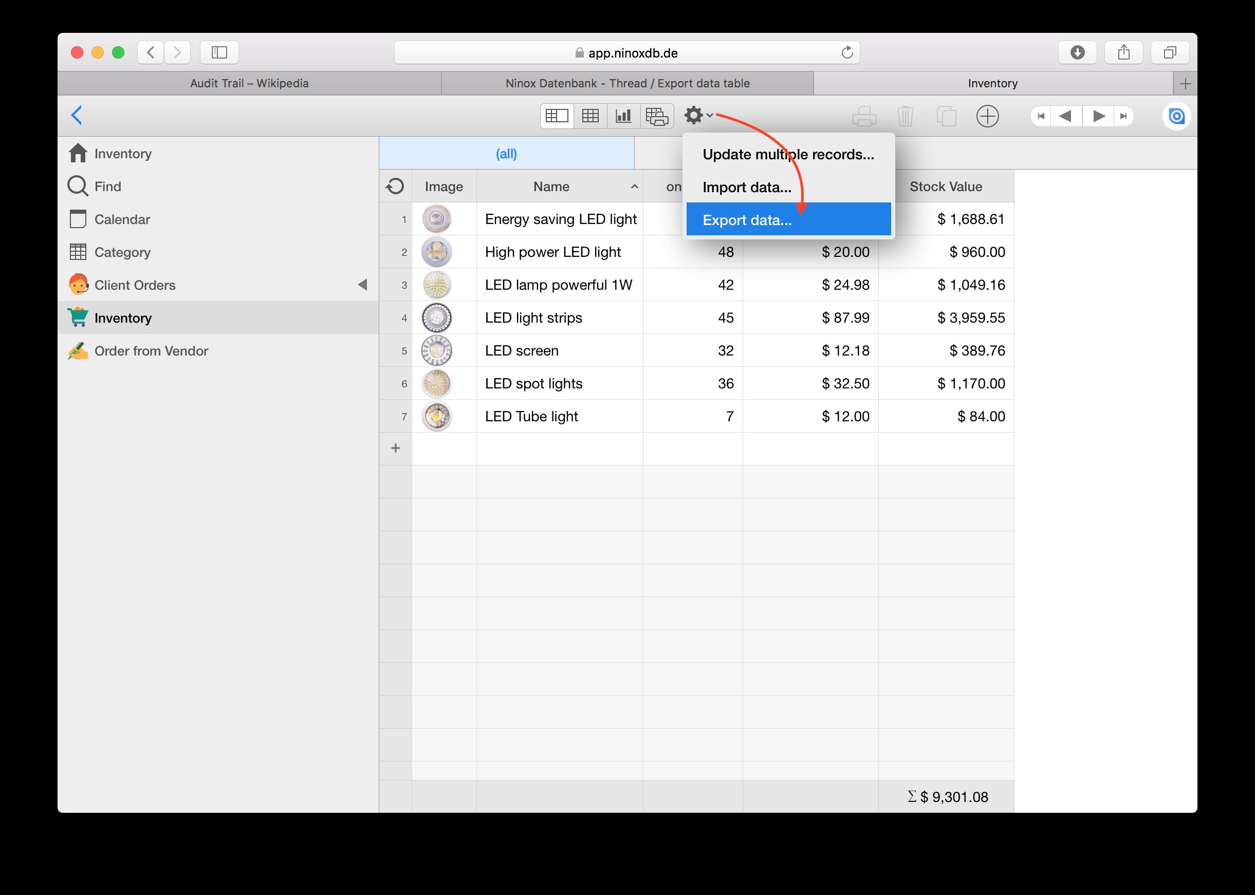 Ninox Database - Thread / Export data table